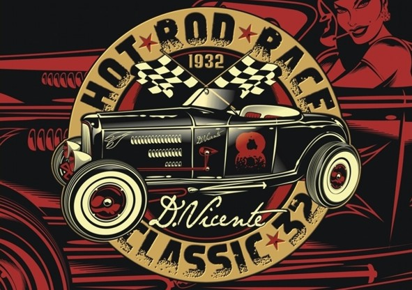 hot rod art prints. Poster HOT ROD RACE